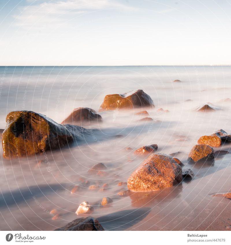Steine am Meer (Stones on the beach) Ferien & Urlaub & Reisen Wasser Sommer Sonne Erholung ruhig Landschaft Strand Ferne Küste Freiheit Sand Wellen