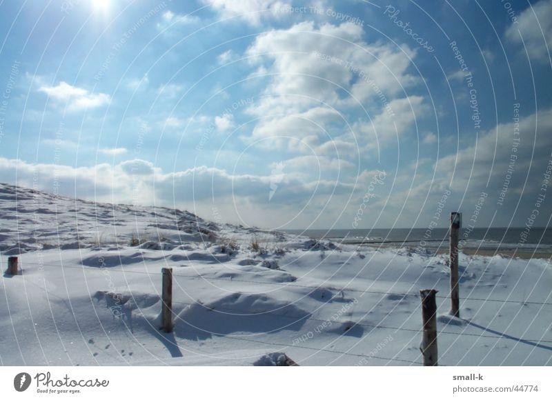 Schnee und Meer Natur Winter Strand Wolken kalt