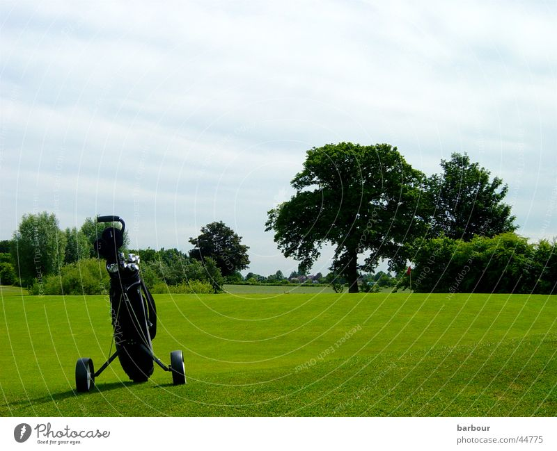 Golfidylle Golfbag grün Baum Golfplatz Wolken Sport