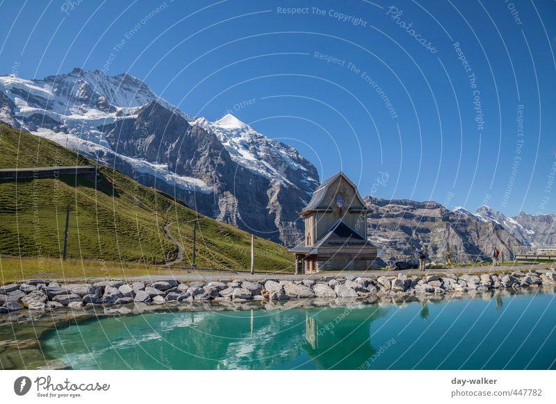 Der Schatz im Silbersee Natur Landschaft Urelemente Wasser Himmel Wolkenloser Himmel Sonnenlicht Sommer Schönes Wetter Gras Felsen Alpen Berge u. Gebirge Gipfel