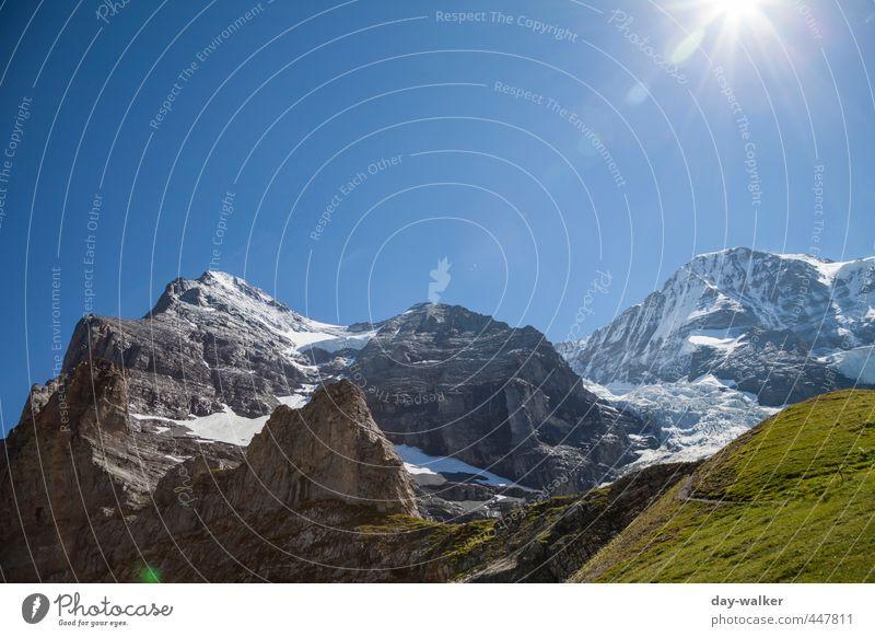 Eiger und Mönch Natur Landschaft Pflanze Urelemente Erde Himmel Wolkenloser Himmel Sonne Sommer Schönes Wetter Schnee Felsen Alpen Berge u. Gebirge Gipfel