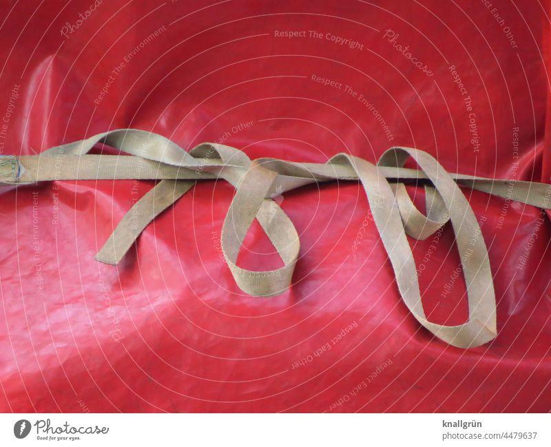 Verpackung Schutz Geschenk Dekoration & Verzierung Band Persenning Farbfoto eingepackt verhüllt verpackt Menschenleer rot beige hellbraun verschlungen