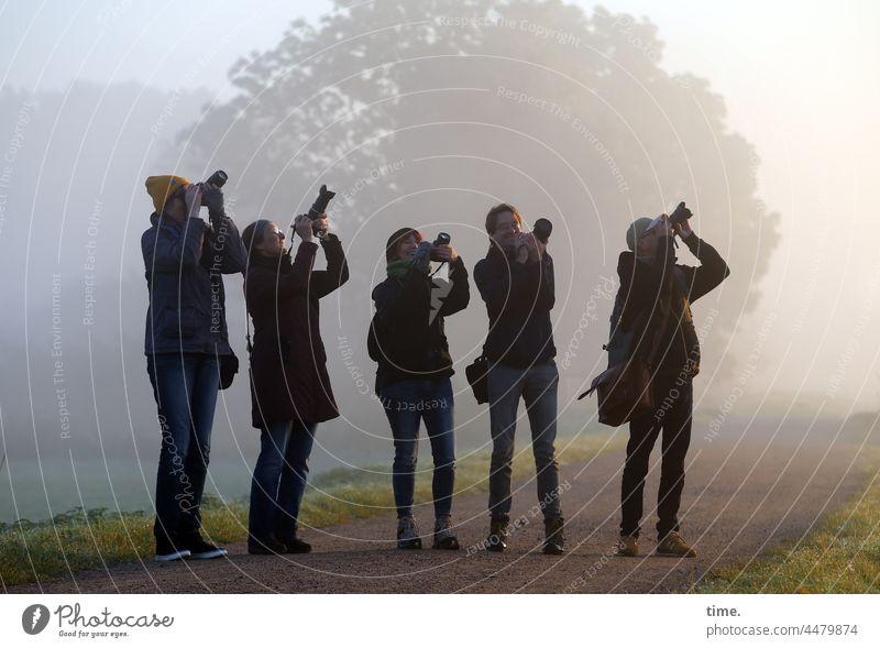 UT Teufelsmoor   Flugmotiv Gruppe fotografieren nebel baum morgens gemeinsam unterwegs usertreffen stehen fokussieren beobachten synchron