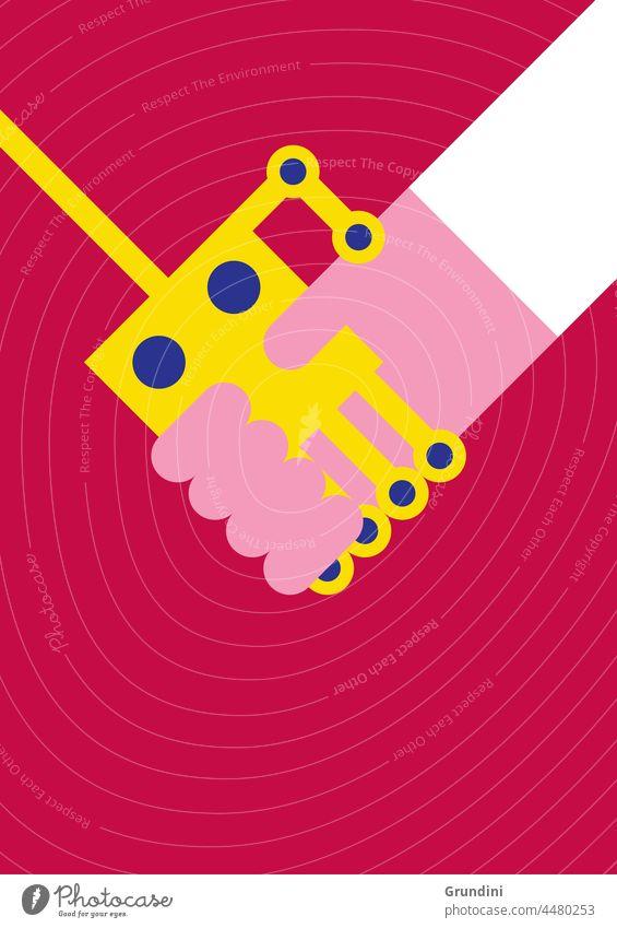 Ai Roboter Robotik Hände schütteln Grafik u. Illustration Lifestyle