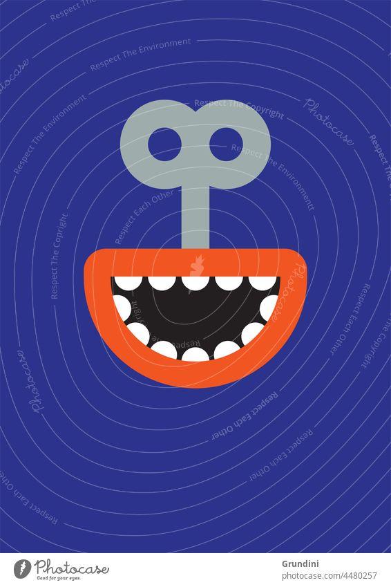Falsches Lächeln 2 Grafik u. Illustration Lifestyle Gesicht Schlange Mund Uhrwerk