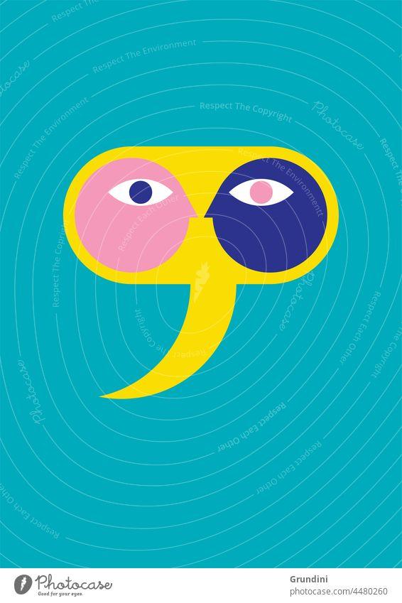 Diskussion Grafik u. Illustration Lifestyle Inspiration Sprechblase Köpfe Gesichter Talkrunde reden Sitzung