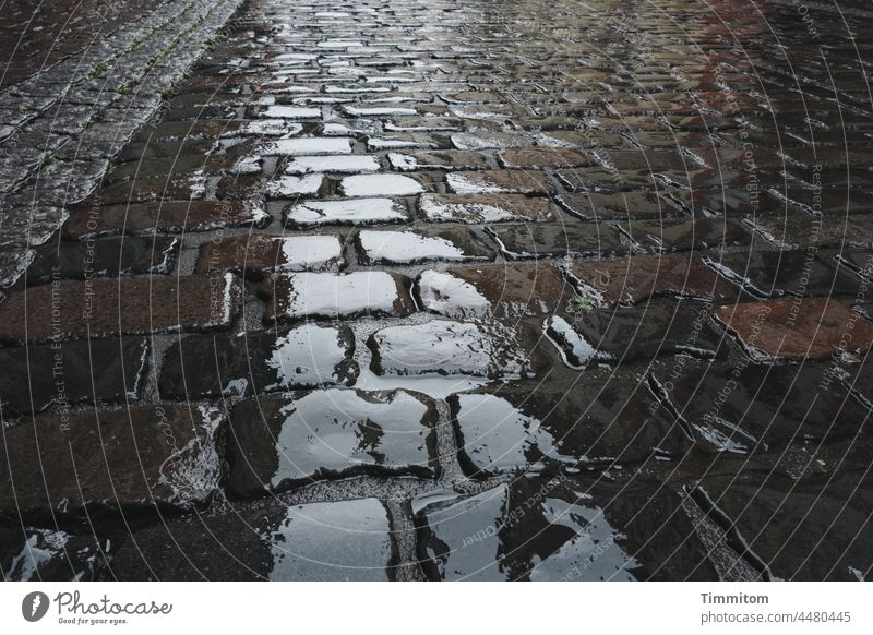 Manchmal regnet es... Straße Regen Kopfsteinpflaster nass Stadt Pflastersteine Außenaufnahme Reflexion & Spiegelung schlechtes Wetter Menschenleer feucht