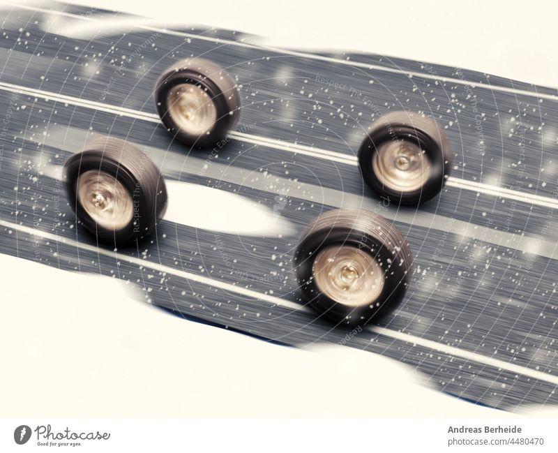 Winterreifen auf einer verschneiten Straße, Konzept der Wintersaison Reifen frieren Einfrieren Sicherheit Versicherung übrig Schneefall Pflicht Wetter