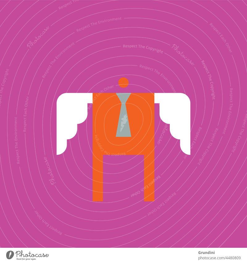 Leiterschaft Arbeit Grafik u. Illustration Büro Schriftzeichen Engel Führung