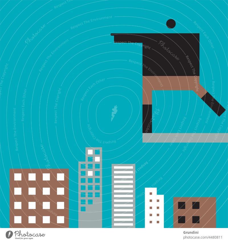 Den Sprung wagen Arbeit Grafik u. Illustration Büro Schriftzeichen Führung Gebäude