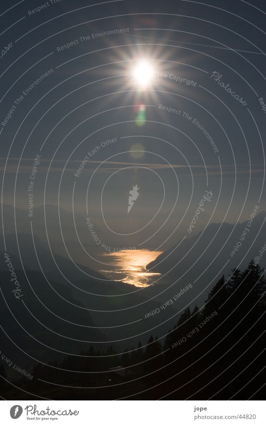 Abendstimmung Wasser Sonne Berge u. Gebirge See Schweiz Abenddämmerung