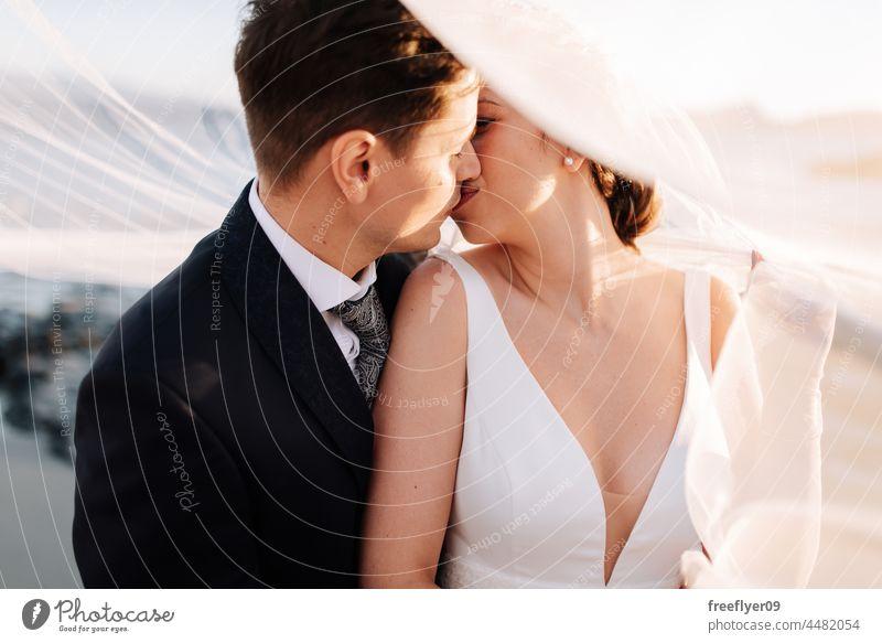 Frisch verheiratetes Paar unter dem Brautschleier Hochzeit Ehemann Ehefrau Bekleidung Liebe Textfreiraum Porträt die sich gegenseitig ansehen Imkerschleier