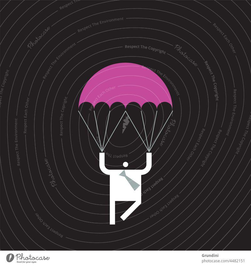 Trouble Shooter Arbeit Grafik u. Illustration Büro Schriftzeichen Führung Gewinner gewinnt Fallschirm