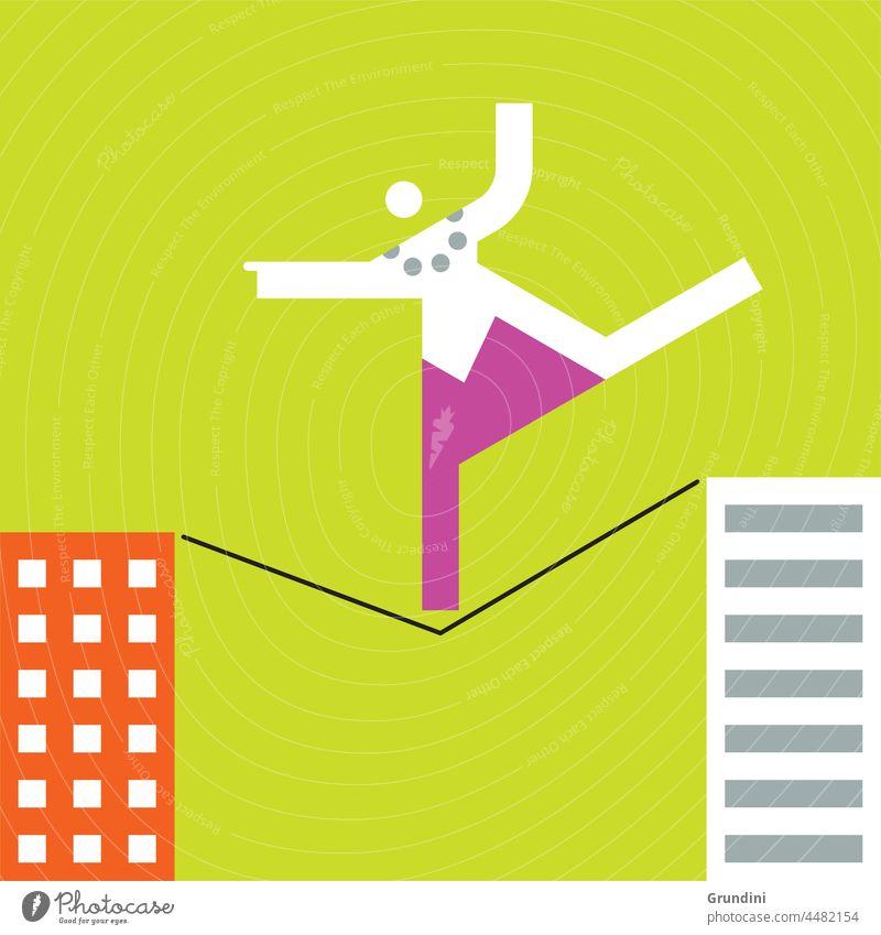 Risiko Arbeit Grafik u. Illustration Büro Schriftzeichen Führung Gewinner gewinnt Drahtseil Gebäude