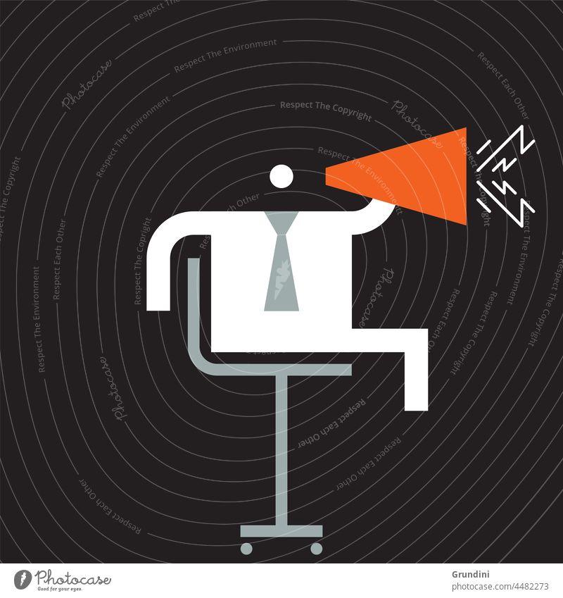Megaphon Arbeit Grafik u. Illustration Büro Schriftzeichen Führung Gewinner gewinnt Rede
