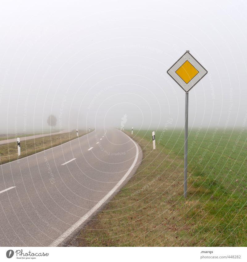 Vorfahrt Ausflug Umwelt Natur Landschaft Herbst Klima schlechtes Wetter Nebel Wiese Verkehr Verkehrswege Straßenverkehr Wege & Pfade Zeichen