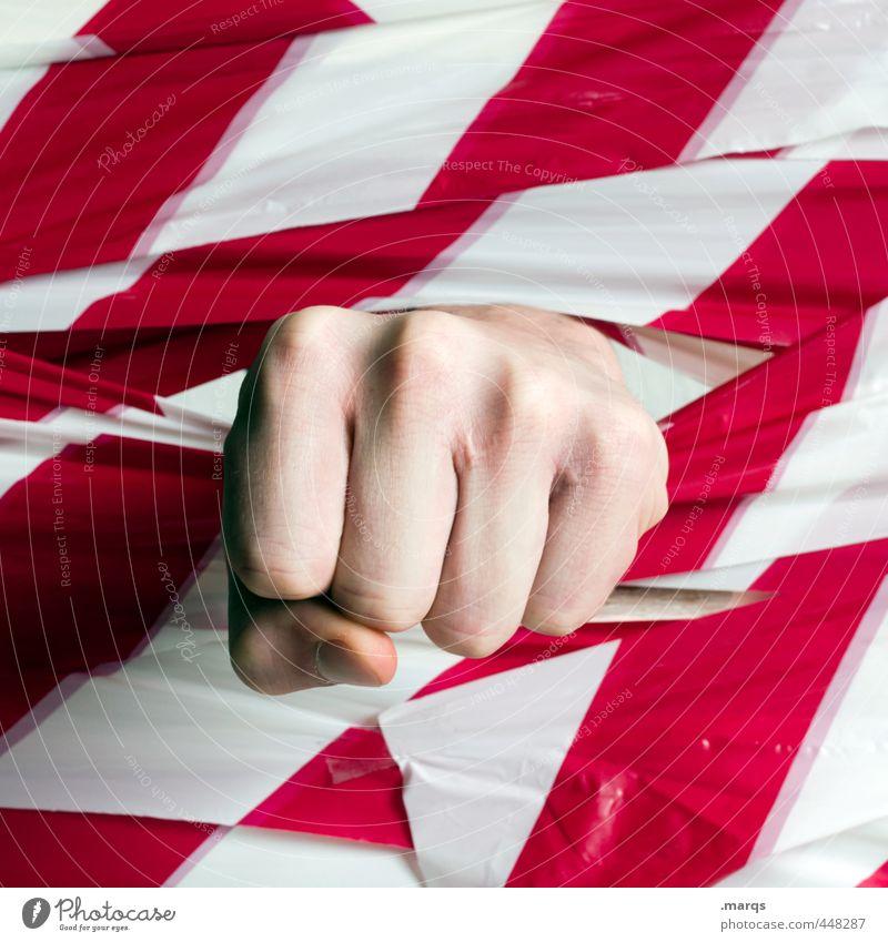 1700 | Durchbruch Karriere Erfolg Faust Zeichen Streifen Aggression stark rot weiß Kraft Willensstärke Mut Kommunizieren Gewalt Revolution schlagen Wut