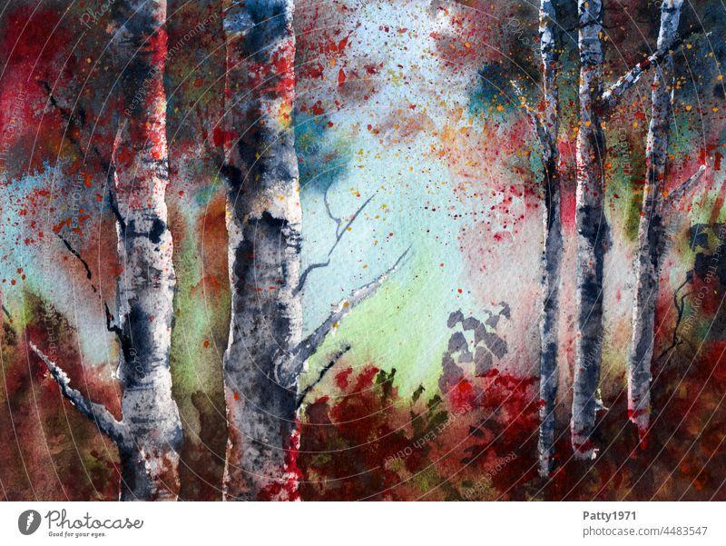 Herbstlicher Birkenwald. Aquarell Kunst Menschenleer Landschaft Umwelt Natur Baum Wald Illustration Unterholz Zentralperspektive