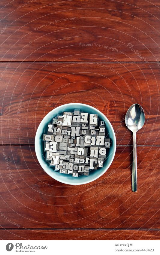Buchstabensuppe II blau Holz Lifestyle Kunst braun ästhetisch Tisch Kreativität Idee Frühstück Wort Schalen & Schüsseln durcheinander Abendessen Wissen