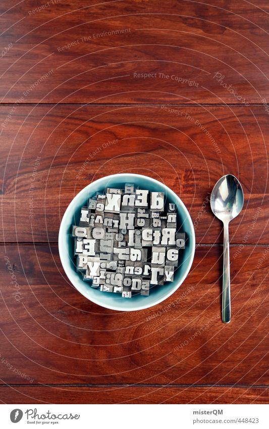 Buchstabensuppe II Lifestyle Kunst ästhetisch Wort Sprachwissenschaften Sprache Fremdsprache Kreativität Idee Tisch Mittag Frühstück Wissen Frühstückstisch