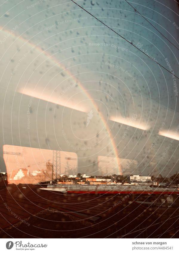 Zugumleitung mir Regenbogen zug fahrt verkehr bahnhof Bahnhof Bahnfahren Bahnsteig Ferien & Urlaub & Reisen Schienenverkehr Station Licht regenbogen