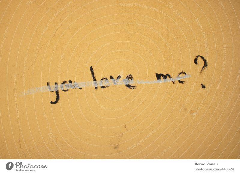 Unentschieden Schriftzeichen Graffiti schreiben braun gelb schwarz Liebe Fragezeichen Fragen unsicher durchgestrichen weiß unentschlossen Zweifel Englisch Riss