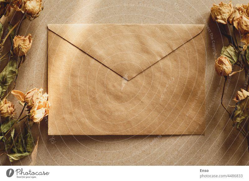Brown Papier Umschlag und trockene Blumen für Vintage Retro-Hintergrund mit Schatten Kuvert braun Handwerk getrocknet retro Nostalgie Liebe Romantik Nachricht