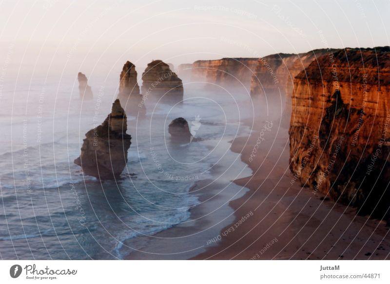 Twelve Apostels Meer Strand Stimmung Küste Nebel Australien Klippe Gischt Great Ocean Road
