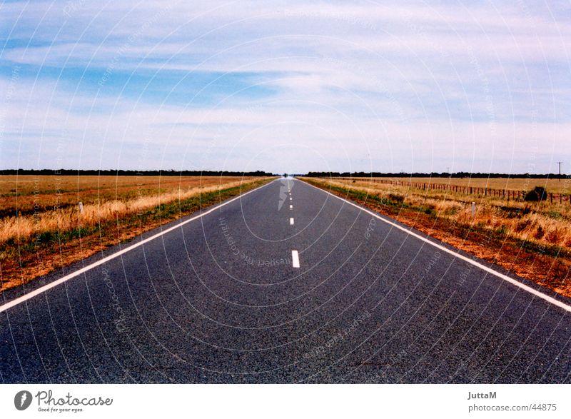 Road to Nowhere Himmel Ferne Straße Horizont Verkehr Erde leer Perspektive Unendlichkeit Flucht Australien