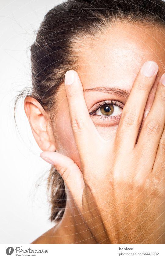 Durchblick Auge Frau Mensch Blick Porträt Vogelperspektive Blick in die Kamera Nahaufnahme