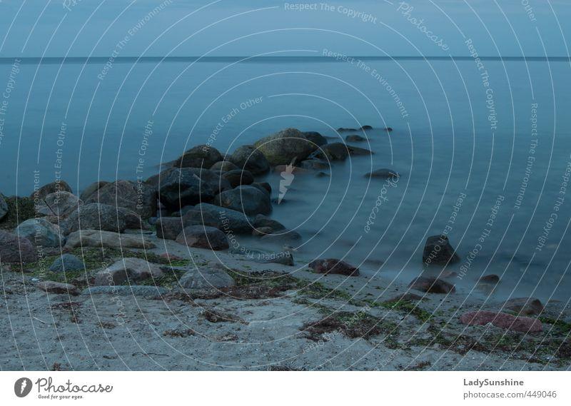 Blueprint Sommer Strand Meer Natur Sand Wasser Nachthimmel Horizont Schönes Wetter Küste Bucht Ostsee Erholung blau Romantik schön Zufriedenheit Gedeckte Farben