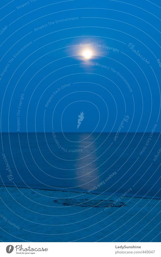 Blue Moon Natur Sand Wasser Himmel Nachthimmel Horizont Vollmond Sommer Schönes Wetter Küste Strand Ostsee leuchten blau ruhig Einsamkeit Erholung Idylle