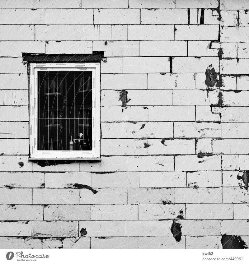 Rohbau Bauwerk Gebäude Architektur Mauer Wand Fassade fest Fenster Fensterscheibe Stein Fuge rau Baustelle Gitter eckig einfach Beton Spuren Fleck dreckig