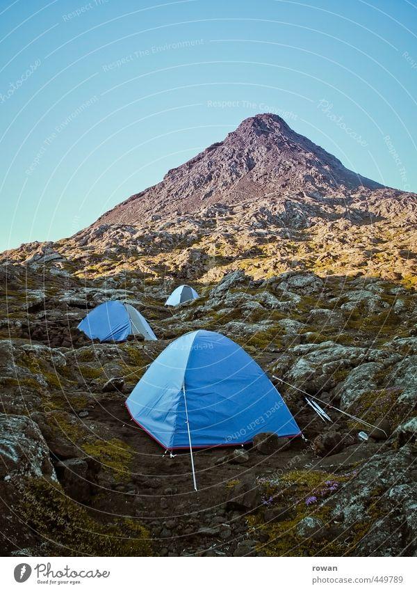 nachtlager Umwelt Natur Landschaft Wetter Hügel Felsen Alpen Berge u. Gebirge Gipfel blau Zelt Zeltlager Camping wandern Biwak schlafen Abenteuer