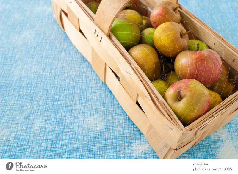 Natur blau Freude gelb Gesundheit Glück Holz Lebensmittel braun Frucht gold Ernährung retro lecker Ernte Apfel