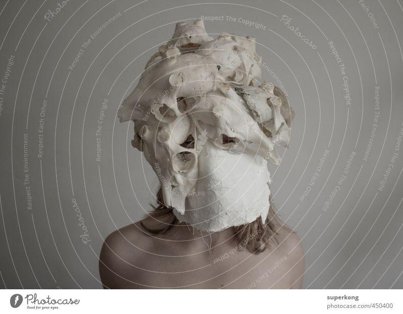 Totenkopf Mensch feminin Junge Frau Jugendliche Körper Haut Kopf Gesicht 1 18-30 Jahre Erwachsene Jugendkultur blond Tier Tierschädel Skelett Gefühle Laster