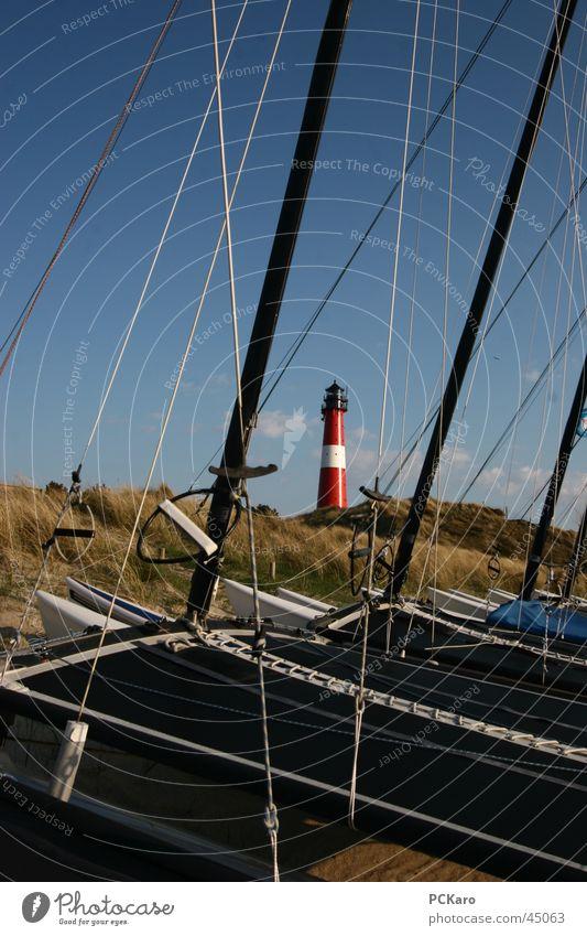 Fernweh Leuchtturm Wasserfahrzeug Segeln Gras Wiese Meer Ferien & Urlaub & Reisen Sylt Europa Stranddüne Himmel