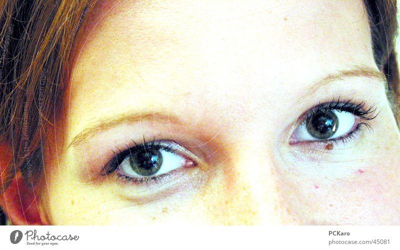 Augenlächeln Frau Mädchen Gesicht Auge Kopf lachen Anschnitt