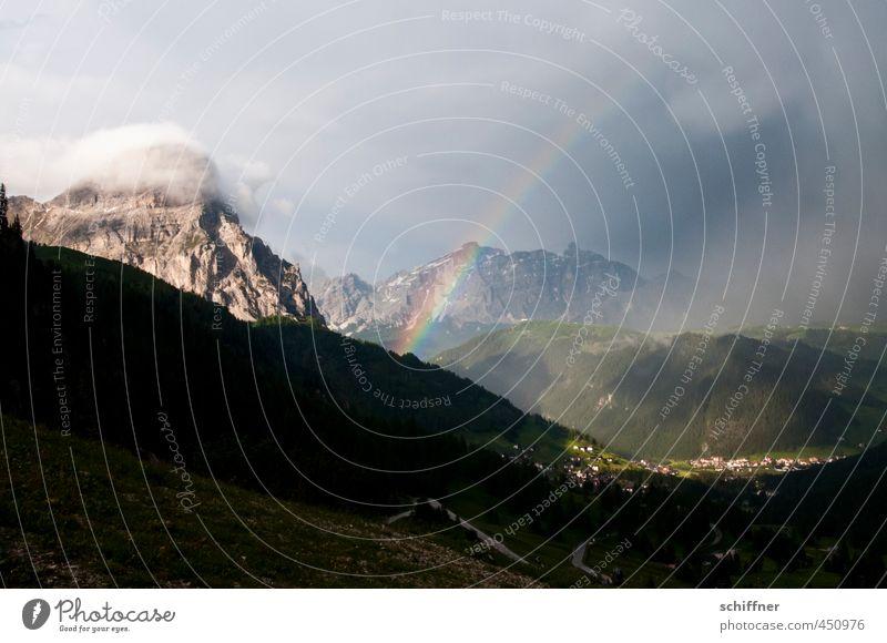 Sahnehäubchen Natur Landschaft Umwelt Berge u. Gebirge außergewöhnlich Felsen Wetter Schönes Wetter Alpen Schneebedeckte Gipfel Unwetter Sturm Gewitter Regenbogen Südtirol schlechtes Wetter
