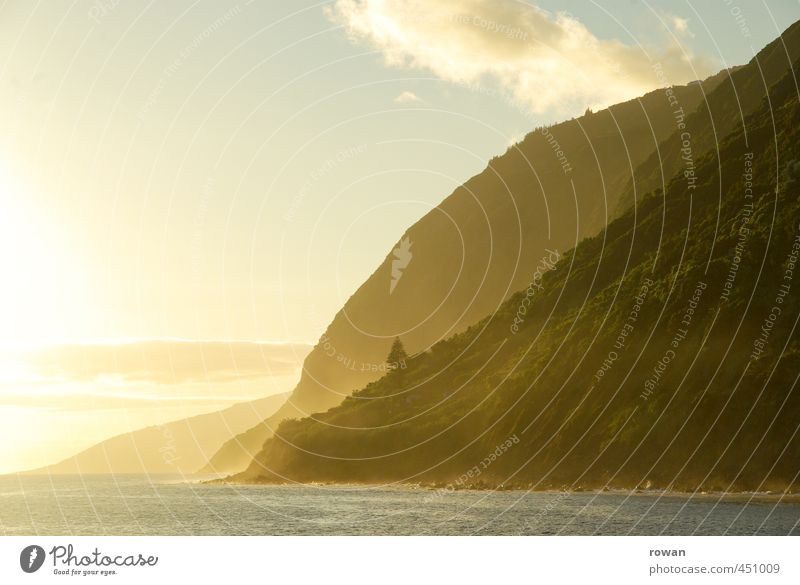 küste Umwelt Natur Landschaft Schönes Wetter Wald Hügel Felsen Berge u. Gebirge Küste Bucht Fjord Meer außergewöhnlich frei Wärme gold Romantik schön ruhig