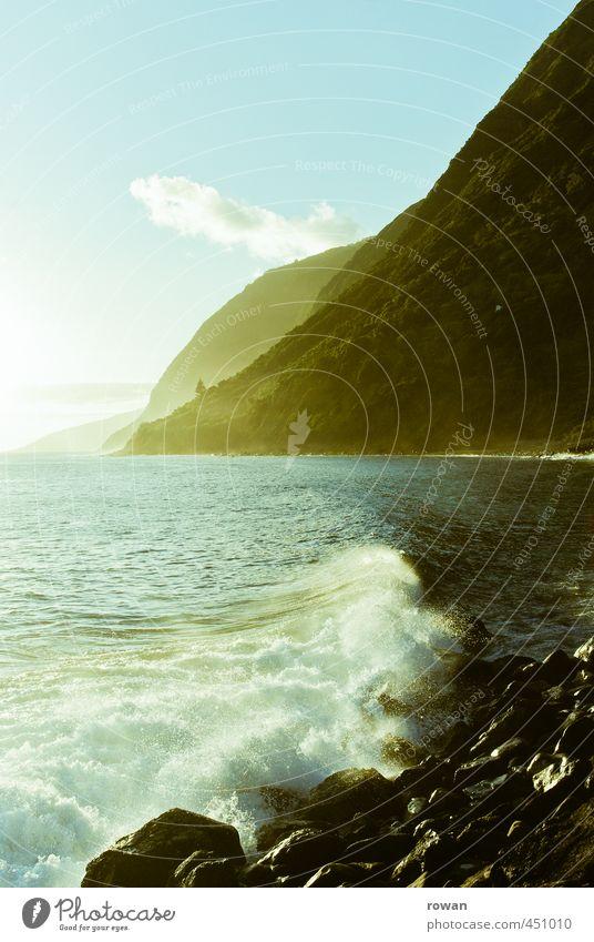küste Umwelt Natur Landschaft Wasser Sommer Wald Hügel Felsen Berge u. Gebirge Wellen Küste Strand Bucht Fjord schön Wärme Idylle Stein Brandung Meer Azoren