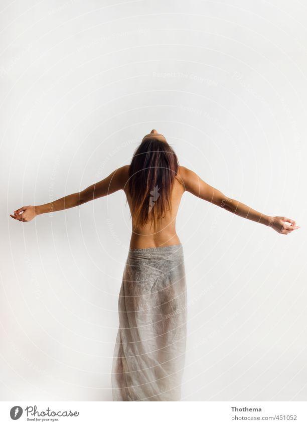 free Glück schön Körper Wellness Wohlgefühl Fitness Sport-Training Mensch feminin Junge Frau Jugendliche Erwachsene 1 18-30 Jahre brünett langhaarig stehen