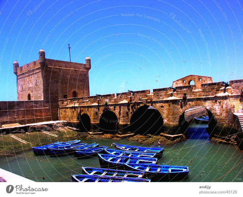 Marokkanischer Hafen Wasser Himmel Meer Wasserfahrzeug Brücke Moral Marokko