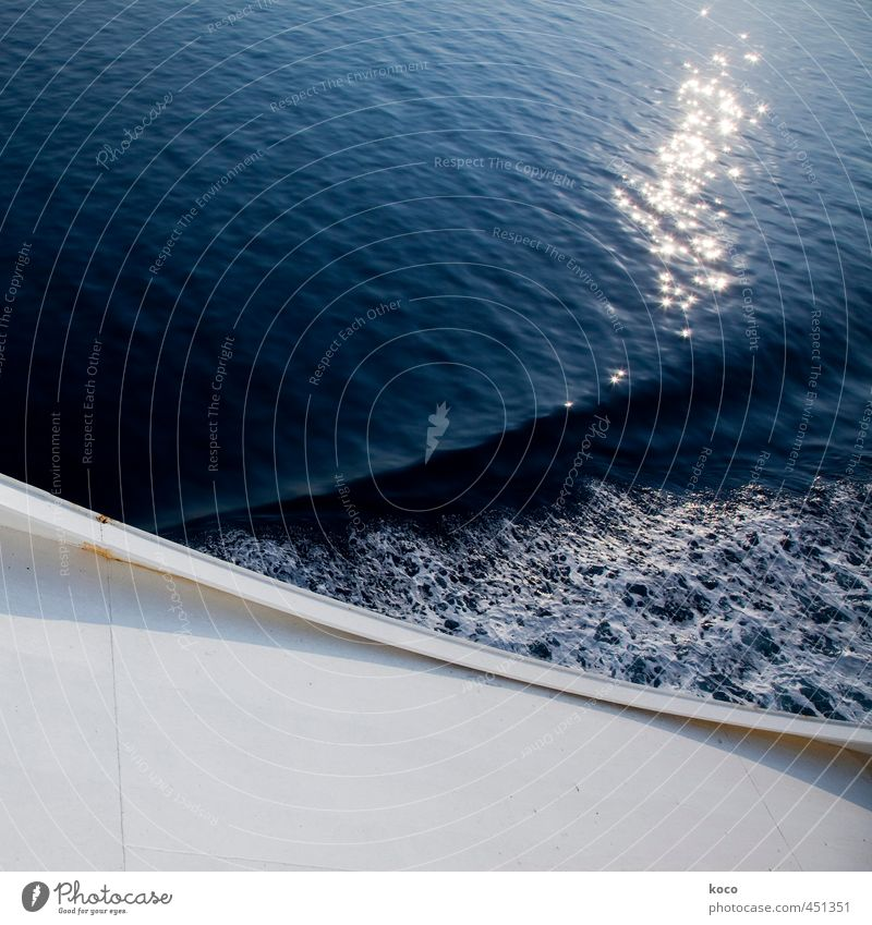 Bugwelle (... mit Glitzer :-) Natur blau Wasser weiß Sommer Meer schwarz Schwimmen & Baden Wasserfahrzeug Linie Metall Kraft Wellen glänzend Schönes Wetter nass