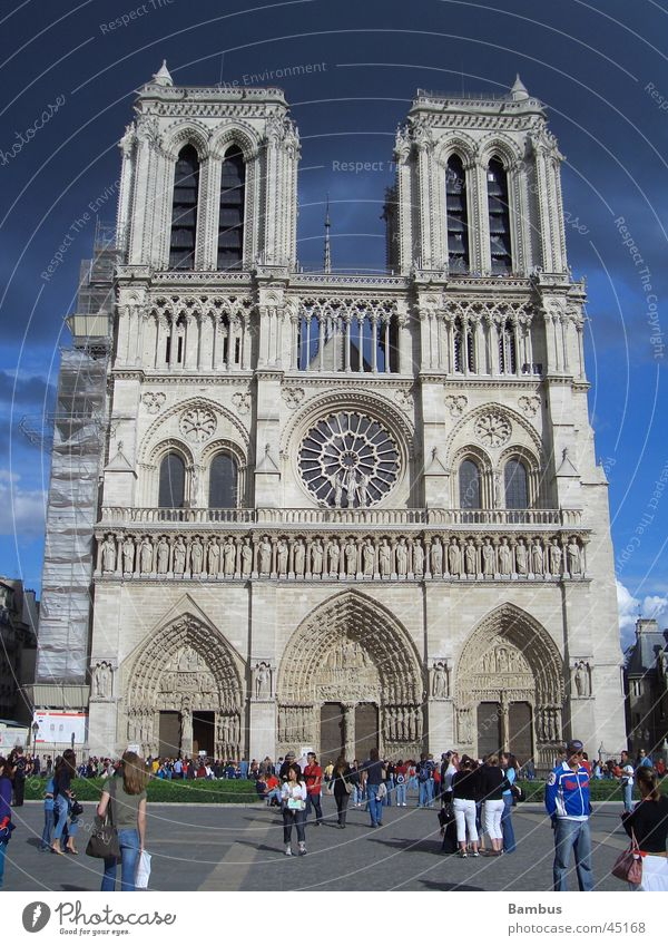 Notre Dame blau Wolken dunkel Religion & Glaube Architektur Turm Paris Gewitter Notre-Dame