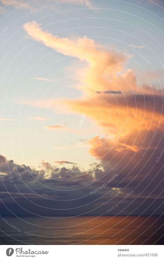 wolkenturm Himmel Wolken Sonnenaufgang Sonnenuntergang Sonnenlicht Wellen Küste Seeufer Meer außergewöhnlich schön gelb orange auftürmen hoch Romantik Horizont