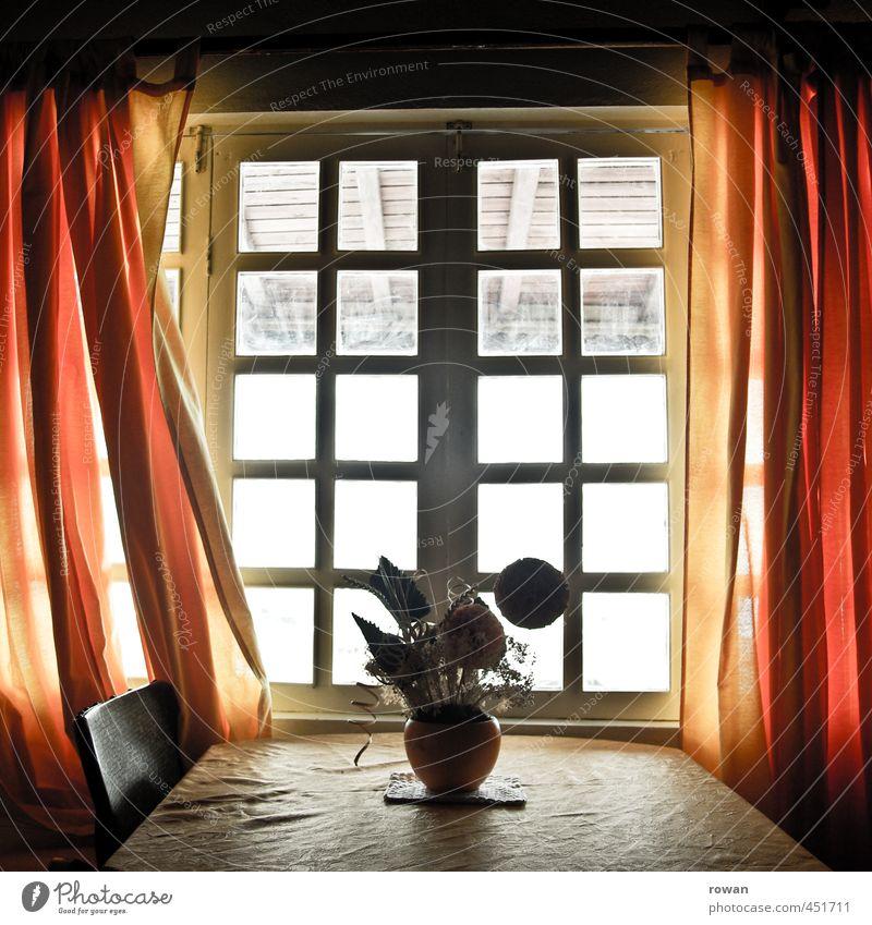 bei opa Haus Einfamilienhaus Gebäude Architektur Fenster rot Vorhang Stuhl Tisch Blume Blumenvase Dekoration & Verzierung leuchten orange Raum Innenarchitektur