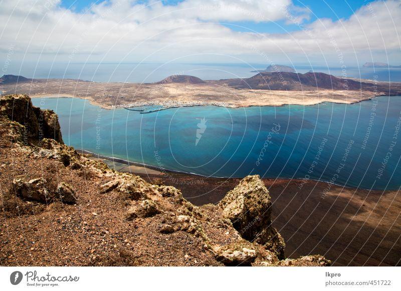 Wolke Strand Wasserküste und Sommer in Lanzarote Spanien Ferien & Urlaub & Reisen Tourismus Ausflug Meer Insel Wellen Natur Landschaft Pflanze Sand Himmel