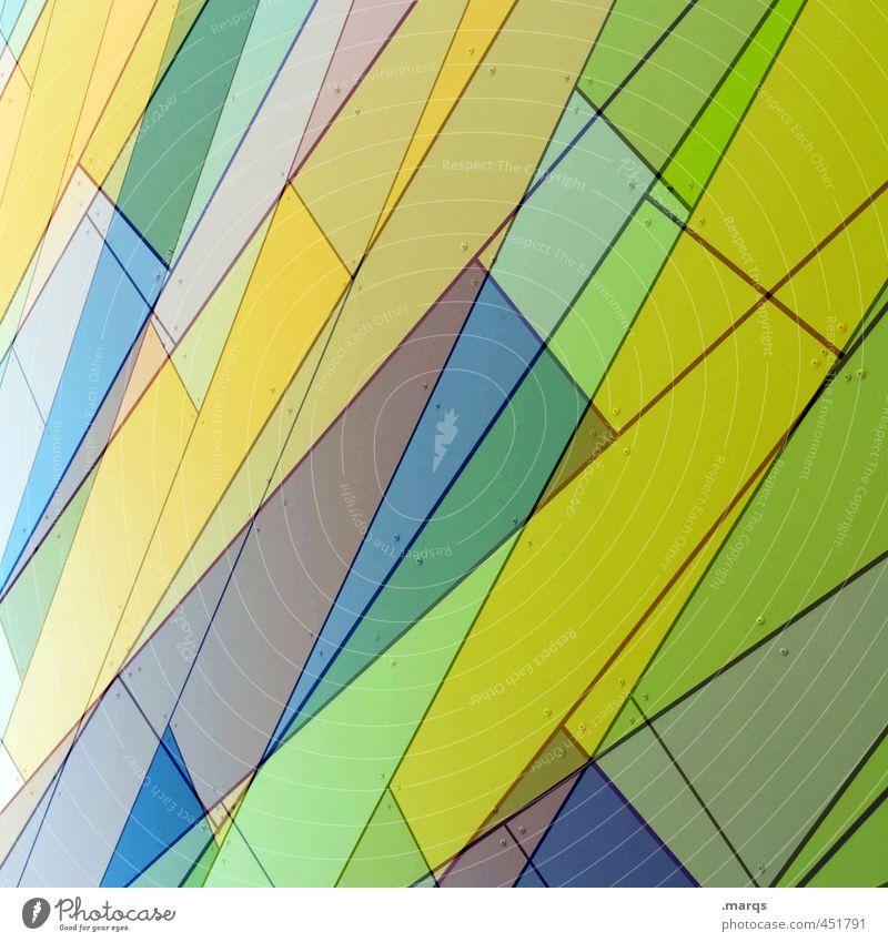 Cut Lifestyle Reichtum Stil Fassade Linie Streifen außergewöhnlich Coolness trendy modern blau gelb grün Design Farbe Perspektive Surrealismus Doppelbelichtung