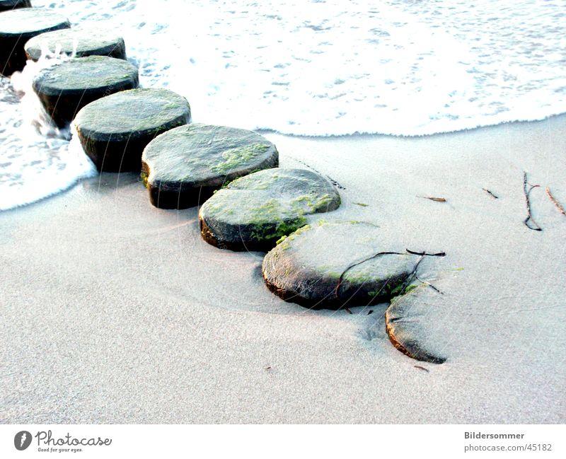 Wellenbrecher Buhne Strand Holz Sand Wasser Ostsee